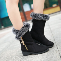 彼艾2017秋冬新款中筒靴雪地靴毛毛靴棉鞋女鞋子坡跟磨砂侧拉链毛毛靴学生靴女靴子