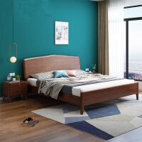 北欧实木床现代简约主卧双人床1.81.5单人床小户型家具