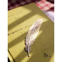 古典大羽毛复古金属叶子书签男古铜哈利波特学生用礼物精致中国风