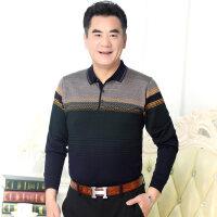 中年男士长袖T恤衫40-50岁针织衫爸爸装翻领秋季打底衫男上衣体恤