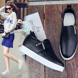 女式 新款休闲鞋女内增高厚底韩版百搭拉链单鞋