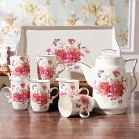 描金陶瓷冷水壶家用大容量耐热凉水壶花茶具咖啡茶具水杯水具套装