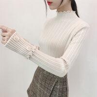修身打底毛衣女短款2019秋冬韩版套头加厚半高领木耳针织衫潮