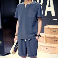 中年男装夏季运动套装短袖中国风棉麻中老年人爸爸装亚麻爷爷夏装