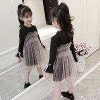 女童秋装2018新款中大童裙子套装小女孩网纱吊带长裙洋气两件套潮
