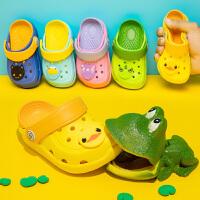 寸年�和�拖鞋夏家居男童防滑�鐾闲『⒂�����2�q女童可�圮�底洞洞鞋