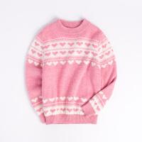 儿童羊绒衫女童打底毛衣羊毛衫套头加厚中大童针织衫秋冬新款粉色