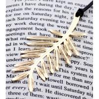 小清新四叶草钥匙雪花棕榈叶康乃馨皮绳黄铜金色金属书签定制一套D