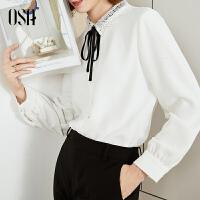 【折后叠券价:125】白色雪纺衬衫长袖2019新款秋法式娃娃领上衣女设计感小众轻熟职业