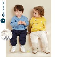 迷你巴拉巴拉婴儿上衣男女宝宝加绒卫衣2019冬装新款趣味保暖衣服