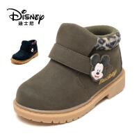【达芙妮年货节】迪士尼 童鞋男童棉鞋加绒保暖短靴子中童鞋保暖男童时尚马丁靴