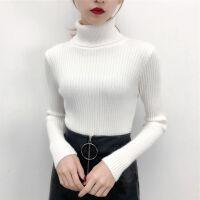 针织打底衫女修身长袖秋冬套头韩版学生上衣百搭加厚高领毛衣女 均码