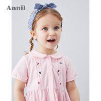 【2件5折:134.5】安奈儿童装女小童连衣裙2020夏季新款宝宝绣花泡泡袖连衣裙娃娃领