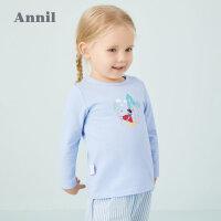 【3件3折价:41.7】安奈儿童装女小童T恤圆领长袖2020新款白雪公主女宝宝洋气上衣春