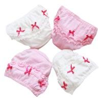 儿童内裤女童棉三角女宝宝婴儿幼儿0-6个月1-2-3-5岁面包裤 2条白+2条粉(随机送一条) 80cm(吊牌120建
