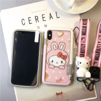 哆啦a�籼O果X手�C��iphone7plus卡通�化膜8可��hello kitty6S彩 iPhone X兔�^kitty