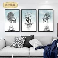 印花十字绣新款客厅简约现代三联画发财麋鹿小幅卧室动物简单线绣SN0562