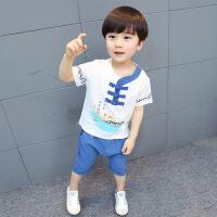 民族风1儿童唐装2男童女童夏季棉麻短袖套装复古-4岁宝宝汉服童装
