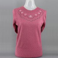 秋冬中年女装毛衣妈妈装纯色圆领针织衫奶奶装薄款套头打底衫 皮