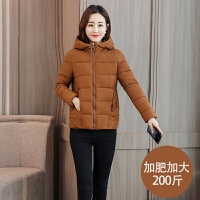 2019棉衣女短款加肥加大码棉袄200斤胖MM面包服冬季外套