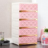 抽屉式收纳柜烫*花多层杂物柜多功能加厚塑料储物窄柜夹缝柜子S 40面宽粉红 金色拉手 加厚