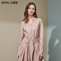 艾莱依2019秋季新款时尚衬衫式连衣裙系带收腰中长裙子601829029