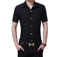 春季男士短袖衬衫男修身韩版免烫百搭英伦纯色青年时尚短袖衬衣潮
