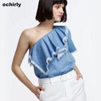 [9月12日3件7折到手价:70元]欧时力新女装斜肩荷叶磨破流苏棉质牛仔衬衫1JH2014410