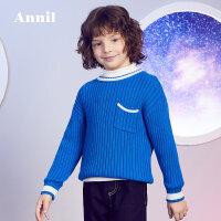 【2件35折:94.15】安奈儿童装男童冬季新款撞色款时尚坑条全棉圆领毛衣Y