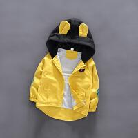 童装男童风衣外套春秋款儿童春装2019新款洋气韩版婴儿宝宝外套潮 黄色 袖子小熊外套黄色
