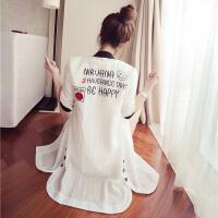 中长款防晒衣女 薄款风衣短袖外套女装学生外搭修身长袖空调衫 夏 白色( 长袖)