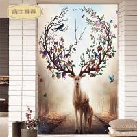 家用2018新款3D十字绣客厅竖版麋鹿欧式立体简约现代风景大画印花线绣SN4845