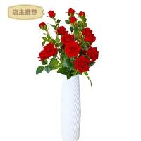 家用玫瑰仿真花假花家里装饰品摆件假话防真花客厅摆设落地高家居装饰SN8107 红色4束装 不含瓶