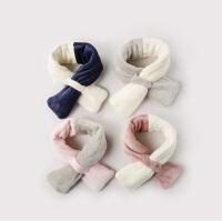 宝宝围巾冬季毛绒保暖围巾男童女童围脖婴儿双色围巾儿童加绒围巾