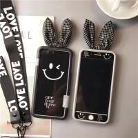 笑脸字母iPhone8plus钢化膜苹果7plus彩膜6s全屏钢卡通前后玻璃膜 苹果6/6s4.7寸黑色笑脸套装