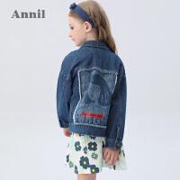 【2件5折:184.5】安奈儿童装女童牛仔外套2020春季新款学生洋气大头像毛边短款外套