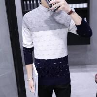 秋冬打底衫衬衫领毛衣男士薄假领针织衫带领假两件套男长袖毛线衣