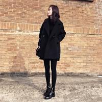 黑色毛呢外套2019冬装女装韩版宽松中长款显瘦毛呢大衣茧型 黑色