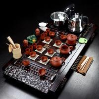 茶具套装家用一体式功夫紫砂陶瓷全自动四合一电磁炉茶道实木茶盘 30件