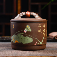 宜�d原�V紫砂茶�~罐大�密封普洱茶�~盒手工醒茶罐存��罐 �D片色