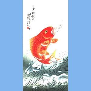 北京市美术家协会会员,北京市著名工笔画画家凌雪(鱼跃龙门)
