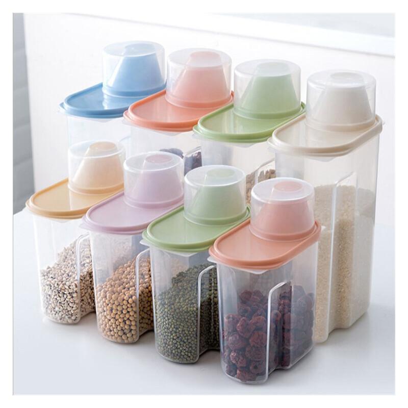 【限时直降】两件装 多件套 厨房透明食品保鲜密封罐 储物罐带盖塑料杂粮收纳罐零食收纳盒