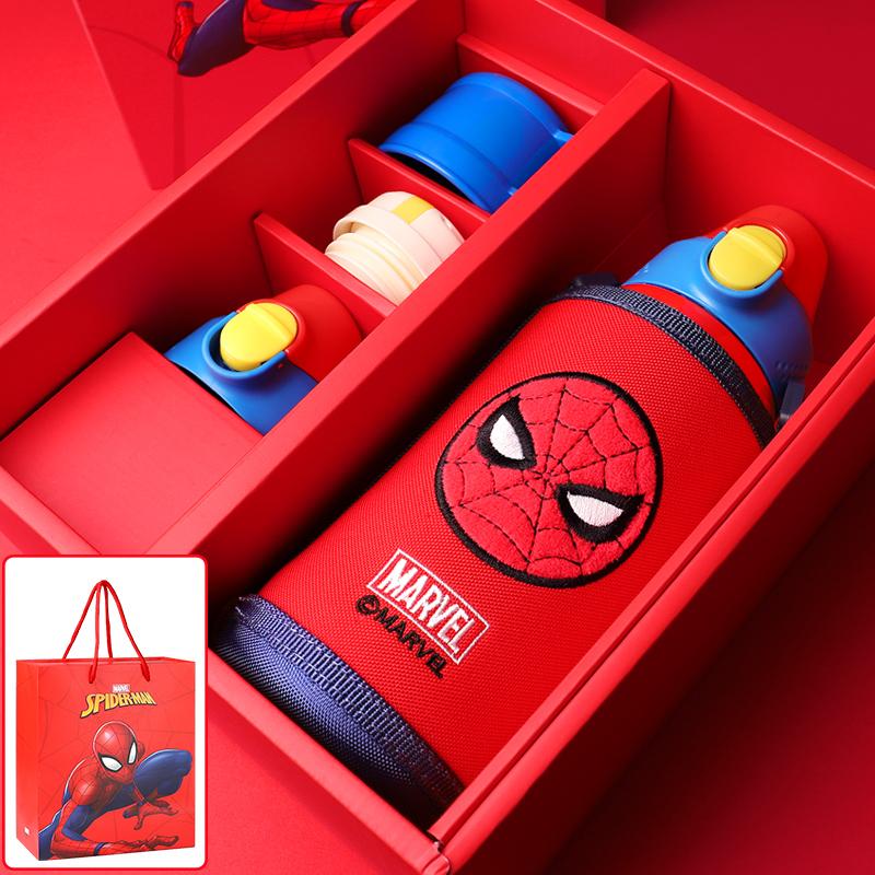 蜘蛛侠儿童保温杯316不锈钢水壶钢铁侠学生水杯带吸管迪士尼杯子