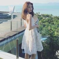 夏季新款女装小清新性感无袖白色蕾丝露背挂脖连衣裙公主裙短裙子