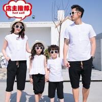 2018新款亲子装夏装一家三口四口韩版时尚棉麻透气母女庭装套装