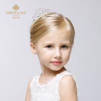 公主唯美闪亮水钻儿童皇冠发饰头饰演出配饰发箍插梳式发夹