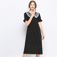 时尚品牌很仙的连衣裙长裙大码2019夏装新款大码女装宽松胖mm波点雪纺仙裙SN3483 黑色