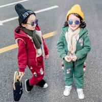女童套装秋冬装2018新款韩版时尚宝宝三件套儿童运动套装