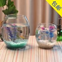 六角龙鱼缸 创意水族箱生态圆形玻璃金鱼缸 大号乌龟缸 迷你小型造景水培花瓶