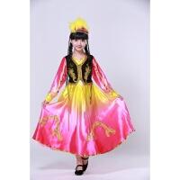 女童新款儿童维吾尔族舞蹈服装少儿新疆表演服幼童民族演出服头纱